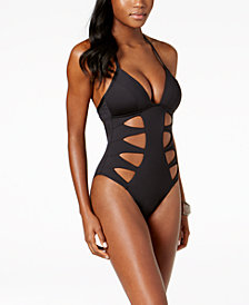 Kenneth Cole Cutout Tummy-Control Push-Up One-Piece Swimsuit