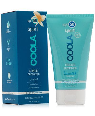 Coola Sport Classic Sunscreen Unscented Moisturizer SPF 50