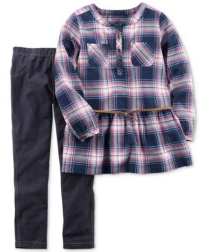 Carters 2Pc Plaid Cotton Tunic  Leggings Set Little Girls (46X)  Big Girl (716)