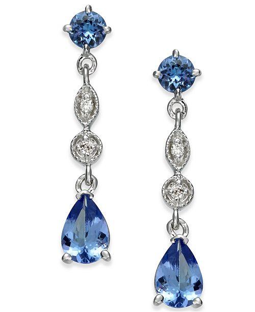 Macy's Tanzanite (1-9/10 ct. t.w.) & Diamond Accent Drop Earrings in 14k White Gold