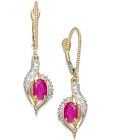 Ruby (1-1/5 ct. t.w.) & Diamond (1/3 ct. t.w.) Drop Earrings in 14k Gold