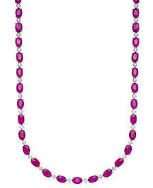 Certified Ruby (20 ct. t.w.) & White Sapphire (1/2 ct. t.w.) Collar Necklace in Sterling Silver