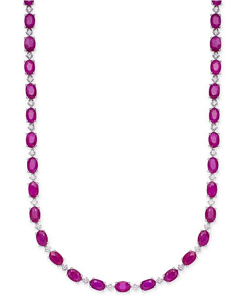 Macy's Certified Ruby (20 ct. t.w.) & White Sapphire (1/2 ct. t.w.) Collar Necklace in Sterling Silver