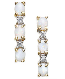 Opal (9/10 ct. t.w.) & Diamond Accent Linear Drop Earrings in 14k Gold