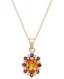 Multi-Gemstone (1-1/8 ct. t.w.) & Diamond Accent Pendant Necklace in 14k Gold