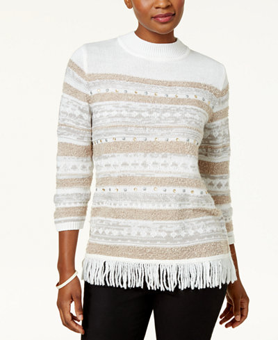 Alfred Dunner Eskimo Kiss Petite Mock-Neck Fringed Sweater