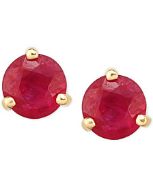 Certified Ruby Stud Earrings 1 5 Ct T W In 14k