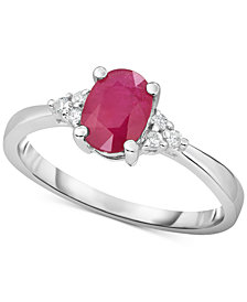 Certified Ruby (3/4 ct. t.w.) & Diamond (1/10 ct. t.w.) in 14k White Gold