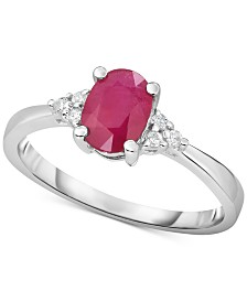 Certified Ruby (3/4 ct. t.w.) & Diamond Accent in 14k White Gold