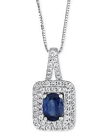 Sapphire (9/10 ct. t.w.) & Diamond (2/5 ct. t.w.) Pendant Necklace in 14k White Gold