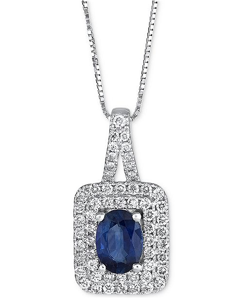 Macy's Sapphire (9/10 ct. t.w.) & Diamond (2/5 ct. t.w.) Pendant Necklace in 14k White Gold