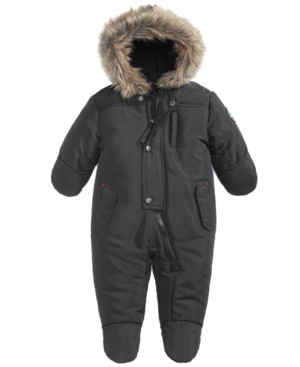 S Rothschild Hooded Parka Footed Pram With FauxFur Trim Baby Boys (024 months)