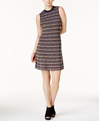 Bar III Printed Mock-Neck Sweater Dress, Created for Macy's