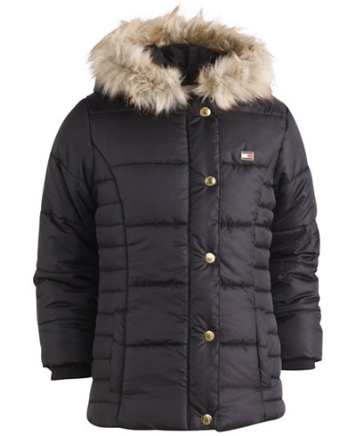 Tommy Hilfiger Hooded Peacoat Puffer Coat with Faux-Fur Trim, Big ...