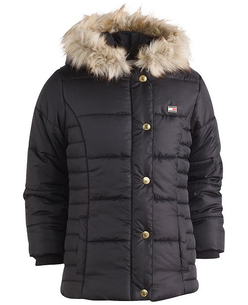 Tommy Hilfiger Hooded Peacoat Puffer Coat with Faux-Fur Trim, Little Girls
