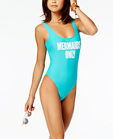 California Waves Juniors' Mermaids Only Graphic One-Piece High-Leg Swimsuit, Created for Macy's
