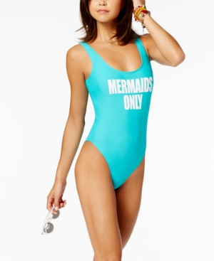 California Waves Juniors' Mermaids Only Graphic One-Piece High-Leg Swimsuit, Created for Macy's Women's Swimsuit