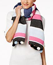 INC International Concepts Striped Pom Pom Wrap & Scarf in One, Created for Macy's