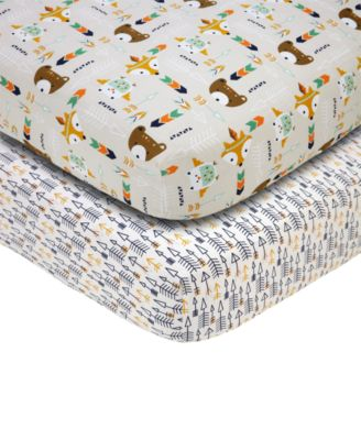 Little Love by 2-Pc. Arrow & Animal-Print Fitted Crib Sheet Set