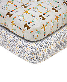 Little Love by NoJo 2-Pc. Arrow & Animal-Print Fitted Crib Sheet Set
