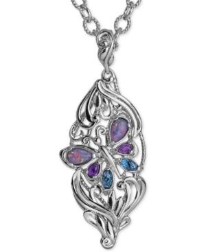 Carolyn Pollock Multi-Gemstone Butterfly Pendant Necklace (2-1/5 ct. t.w.) in Sterling Silver -  Carolyn Pollack