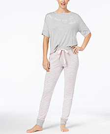 Jenni by Jennifer Moore Graphic T-Shirt & Pajama Pants Sleep Separates, Created for Macy's