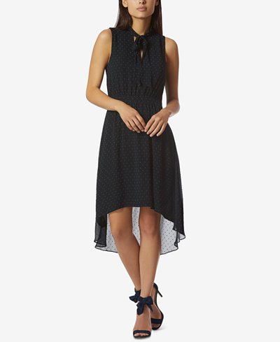 Avec Les Filles Tie-Neck Sleeveless High-Low Dress