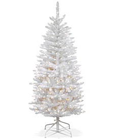4.5' Kingswood White Fir Hinged Pencil Tree With 150 Clear Lights