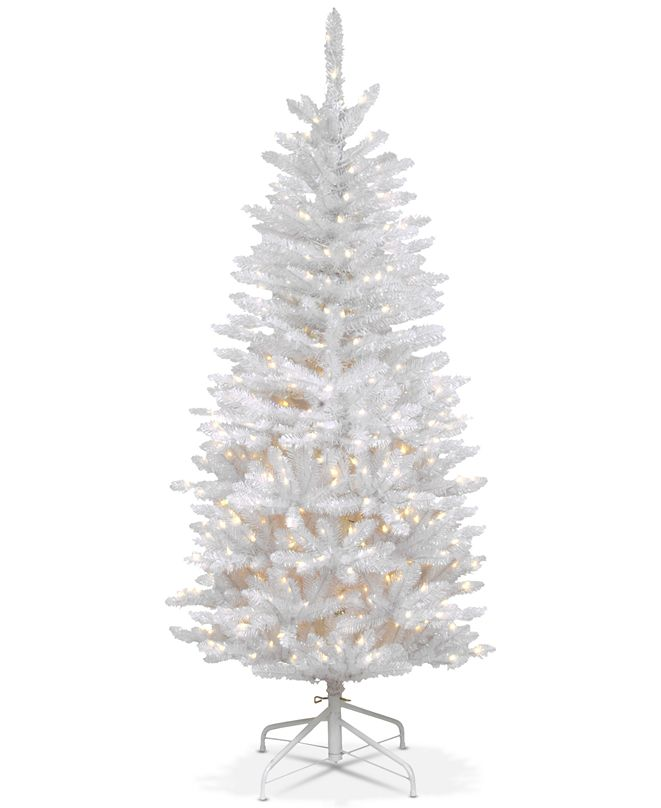 National Tree Company 4.5' Kingswood White Fir Hinged Pencil Tree With 150 Clear Lights
