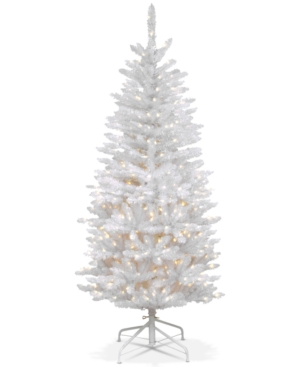 National Tree Company 45 Kingswood White Fir Hinged Pencil Tree With 150 Clear Lights