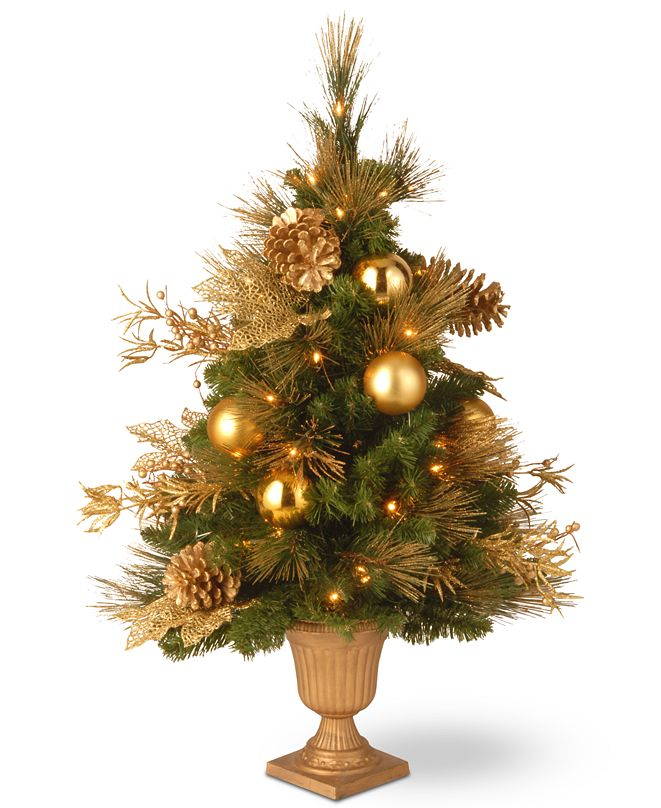 """National Tree Company National Tree Company 36"""" Decorative Collection Entrance Tree With Trimmings & 50 Lights"""