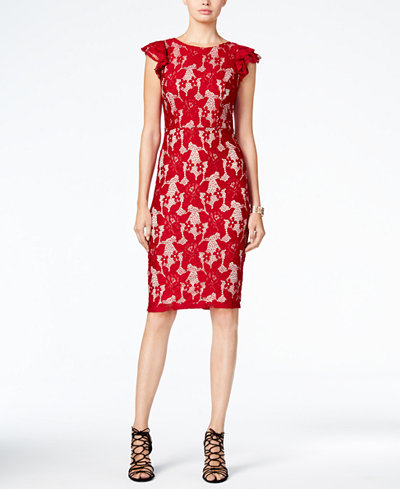 XOXO Juniors' Ruffle-Sleeve Lace Midi Dress