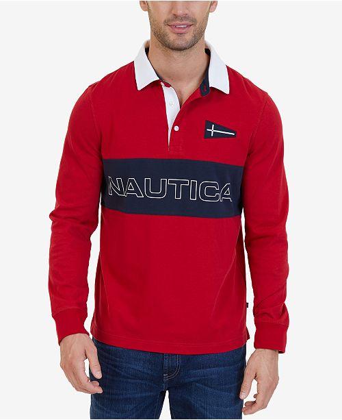 0183980b Nautica Slim-Fit Heritage Long-Sleeve Polo & Reviews - Polos - Men ...