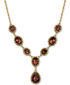 2028 Gold-Tone Burgundy Crystal Y-Necklace, Created for Macy's