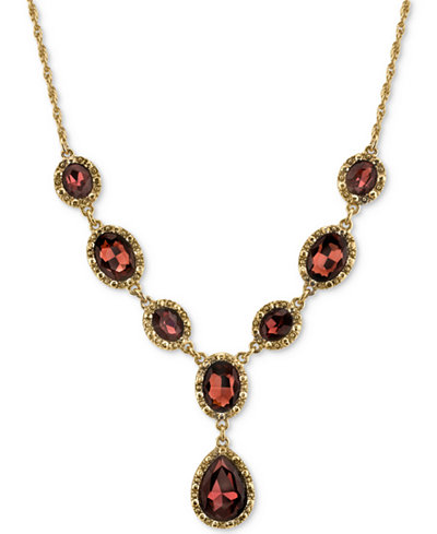 2028 Gold-Tone Burgundy Crystal Lariat Necklace, Created for Macy's