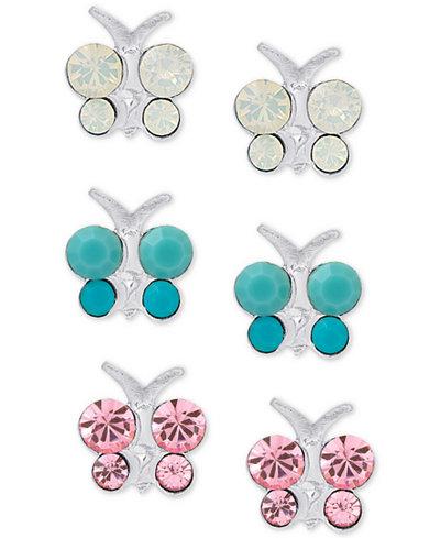 3-Pc. Set Crystal Butterfly Stud Earrings in Sterling Silver