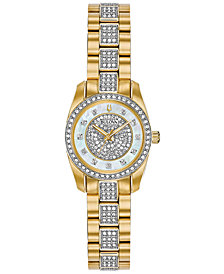 Bulova Women's Gold-Tone Stainless Steel and Crystal-Accent Bracelet Watch 24mm