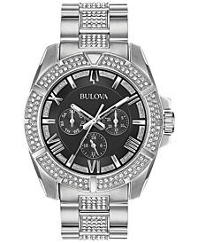 Men's Crystal Dress Stainless Steel & Crystal-Accent Bracelet Watch 44mm