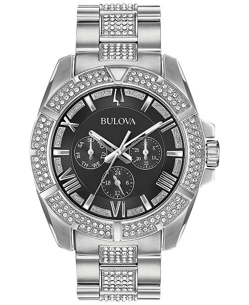 Bulova Men's Crystal Dress Stainless Steel & Crystal-Accent Bracelet Watch 44mm