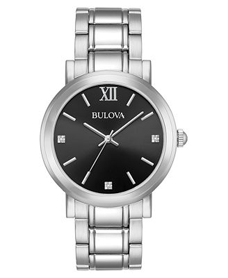 Bulova Men s Diamond Accent Stainless Steel Bracelet Watch 40mm A