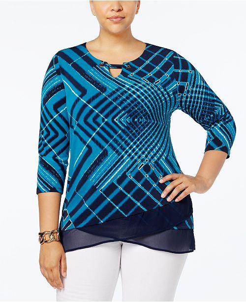 JM Collection Plus Size Crisscross-Hem Top, Created for Macy's