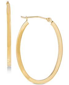 """Polished Oval Flat-Edge Tube Earrings in 10k Gold, 1-1/5"""""""