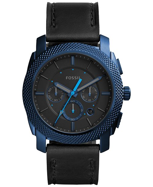 Fossil Men's Chronograph Machine Black Leather Strap Watch 45mm