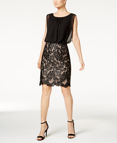 Calvin Klein Blouson Lace-Contrast Dress