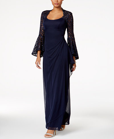 X By Xscape Lace Bell-Sleeve Gown