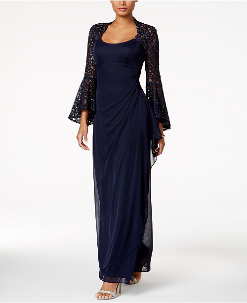 XSCAPE Lace Bell-Sleeve Gown