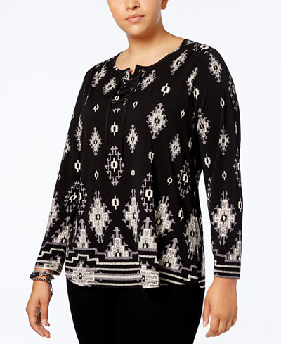 Style & Co Plus Size Mixed-Print Lace-Up Top, Created for Macy's