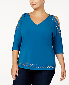I.N.C. Plus Size Studded Cold-Shoulder Top, Created for Macy's