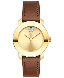 Movado Women's Swiss Bold Brown Leather Strap Watch 30mm