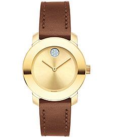 Movado Women's Swiss Bold Brown Leather Strap Watch 30mm